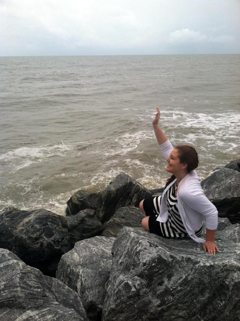 Waving to my mermaid family while trying not to laugh